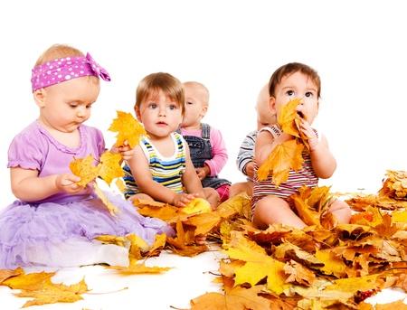 Groupe de bébés à jouer avec les feuilles jaunes