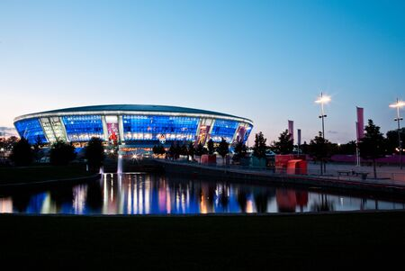 Donetsk, Ukraine, June 08, 2012 -  twilight shot of Donbass Arena stadium ready to host Euro-2012 football matches  in Donetsk, Ukraine.