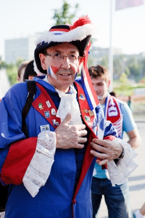 donbass: Donetsk, Ukraine, June 11, 2012  : France fan near Donbass Arena stadium waiting for England-France football match within euro 2012 championship