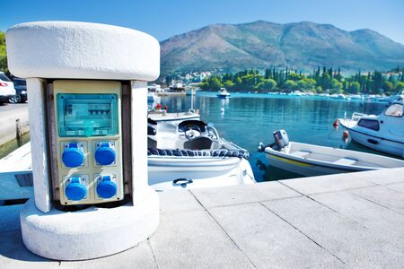 mooring: Electric charging point for boats Stock Photo