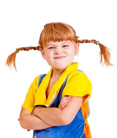 Attractive fille aux cheveux rouges à la recherche offensé Banque d'images