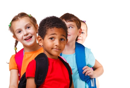 school aged: Kids ready back to school  Stock Photo