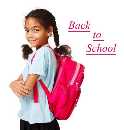 ni�o con mochila: Hermosa volver africano American Girl listo para la escuela