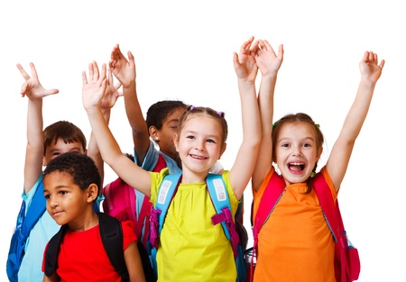 to raise: Excited school aged kids with backpacks Stock Photo
