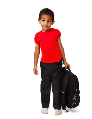 African american boy with a school backpack photo