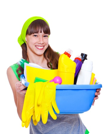 housecleaning: Laughing teenage girl ready for domestic work
