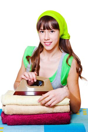 terrycloth: Smiling girl with towels and iron
