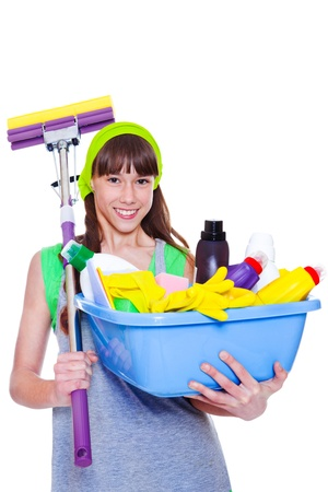 housecleaning: Happy smiling teen holding mop and  basin with chemical detergents