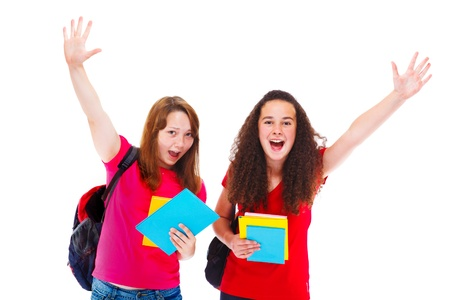 Excited teenage friends with books Stock Photo - 15018199