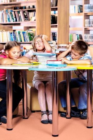 little boy and girl: Kids asleep at school