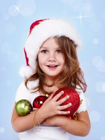산타 모자: 산타 모자에 웃는 소녀