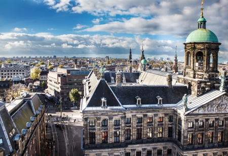 Aerial view of the royal palace and street leading to it, Amsterdam, Netherlands