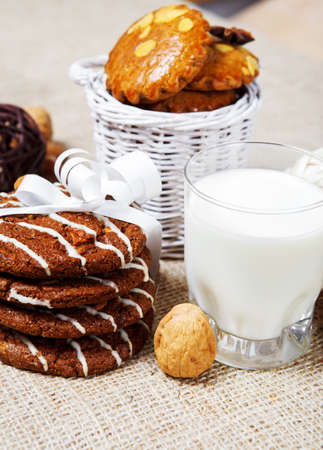 Crunchy cookies with milk for breakfast photo