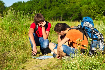 Three teenage students on their hiking tour Stock Photo - 16658343