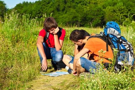 Three teenage students on their hiking tour