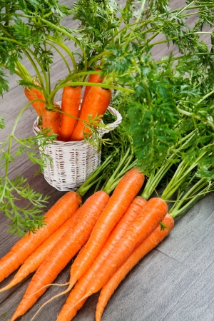 Delicious organic carrot lying in bunch