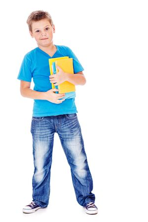 Student in jeans and blue t-shirt, holding books Stock Photo - 16904780