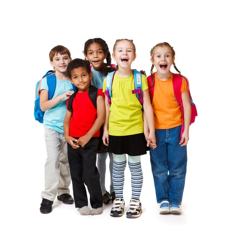 school aged: Surprised kids crowd in colorful t-shirts Stock Photo