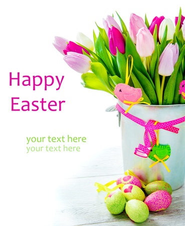 happy easter: Happy Easter - flowers and colourful eggs