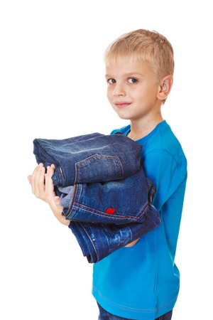 Denim wear little consumer holding jeans in hands Stock Photo - 17798590