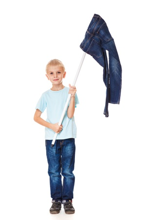 Denim fashion: boy with jeans flag Stock Photo - 17798586
