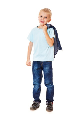 blue jeans kids: Laughing boy wearing jeans, isolated