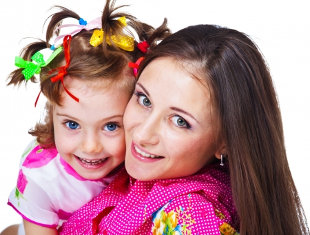 Portrait of beautiful woman and her daughter photo