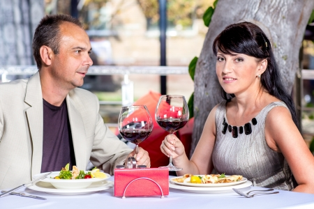 Heterosexual middle aged couple in a cafe Stock Photo - 18293470