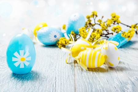 blue egg: Easter eggs - blue and yellow