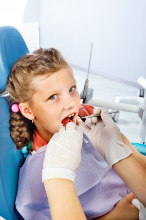 Little girl having dental checkup photo