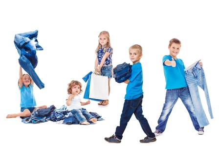 blue jeans kids: Happy kids group with jeans clothing