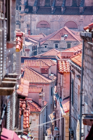 croatia dubrovnik: Tile roofs of stone houses in Dubrovnik old city, Croatia