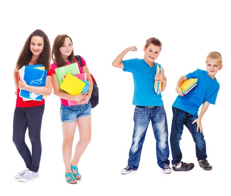 middle school: Group of kids with books ready for school