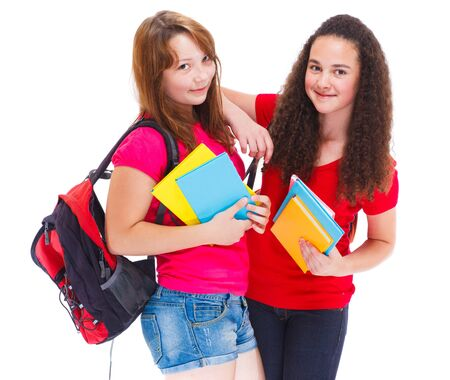 Two cute teenage college students photo