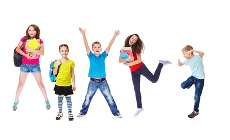 back pack: Excited basic and secondary school students Stock Photo