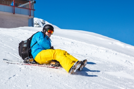 another way: Another way of downhill snowboarding Stock Photo
