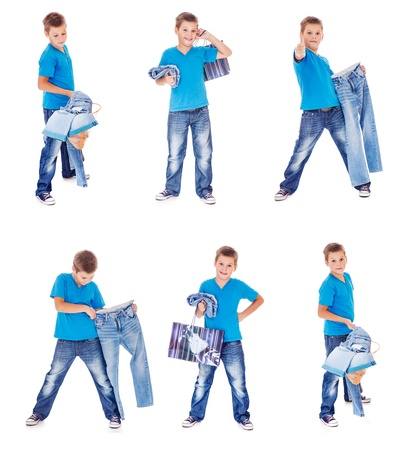 jeanswear: Boy with denim clothing collection