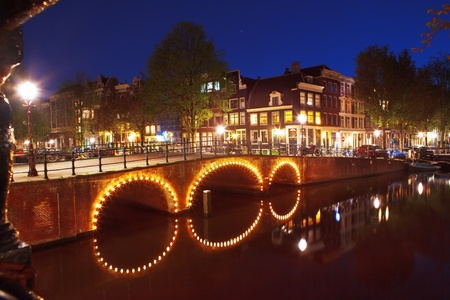 Night in capital of the Netherlands - Amsterdam photo