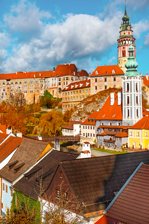 unesco in czech republic: Autumn in the Cesky Krumlov with view on the castle