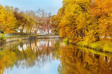 Autumn day over Vltava river in Cesky Krumlov photo