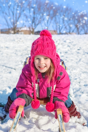 Child in a winter city park photo