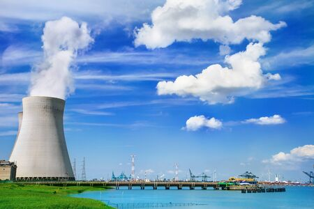 powerplant: Doel Nuclear Power Station on the bank of the Scheldt river  Stock Photo