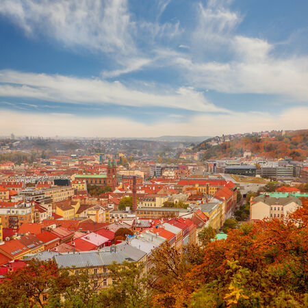 Autumn view on residential area in Prague, capital of Czech Republic photo