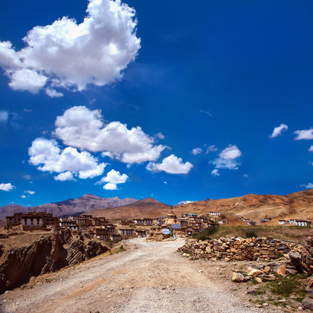 continuously: Road to Kibber village, one of the highest continuously inhabited villages  Himalaya mountains, India Stock Photo
