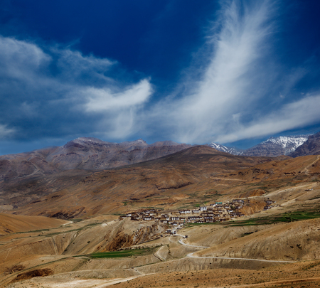 high desert: View on a small village in Spiti valley, India Stock Photo