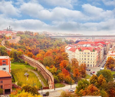 republic: View on autumnal Prague, capital of Czech Republic, from Vysegrad