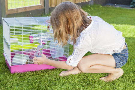 Girl in the backyard playing with the hamster in cage Stock Photo