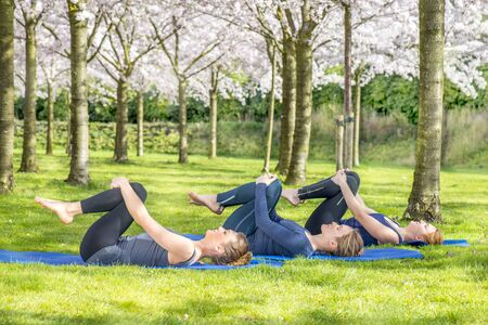 stretch: Young women practicing yoga in a blooming spring park Stock Photo