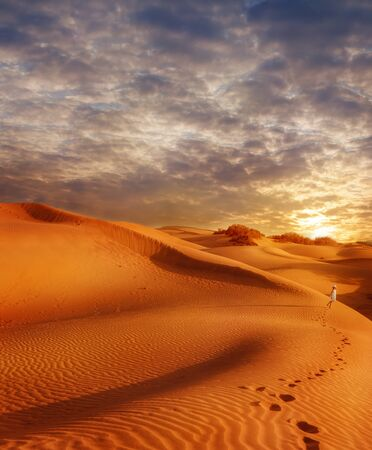 sand dunes: Sand dunes field at sunset and traces of a little girl walking along the desert Stock Photo