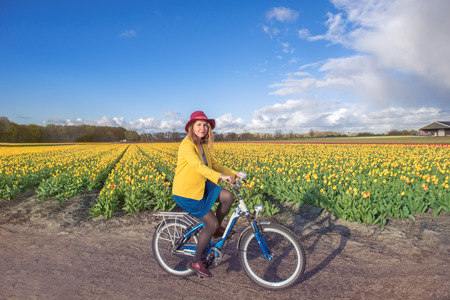dutch typical: Woman in hat cycling along typical Dutch spring tulip fields Stock Photo